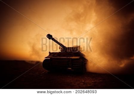 War Concept. Military Silhouettes Fighting Scene On War Fog Sky Background, World War German Tanks S