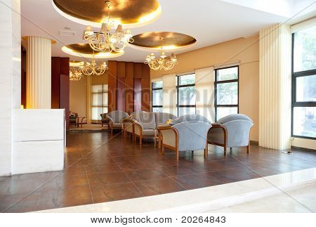 Modern interior of a hall with a soft zone