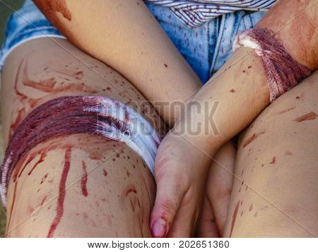 Bandage body fake blood painful wound background close up
