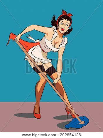 vector illustration of a pretty housewife pinup style cleaning a tile floor with brush, banner