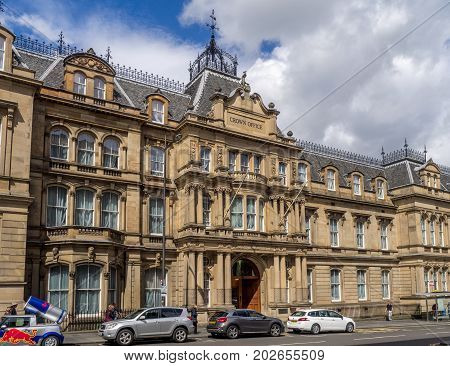 EDINBURGH, SCOTLAND - JULY 27: Facade of the Crown office and Procurator Fiscal Services on July 27, 2017 in Edinburgh Scotland. It is across the street from the National Museum of Scotland.