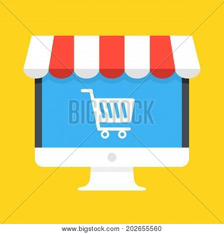 Computer with white shopping cart icon on screen and storefront awning. Ecommerce, online shopping, e-commerce, internet marketplace concepts. Modern flat design graphic elements. Vector illustration