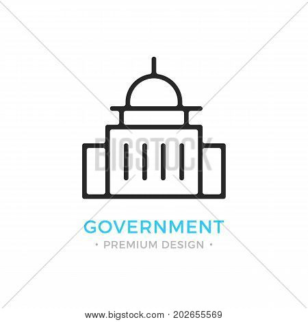 Government icon. Capitol building logo. Premium design. Vector thin line icon isolated on white background