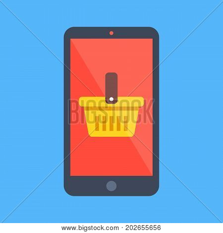 Smartphone and shopping basket icon. Black cellphone with yellow basket on screen. Mobile shopping, e-commerce, m-commerce, ecommerce concepts. Flat design vector icon