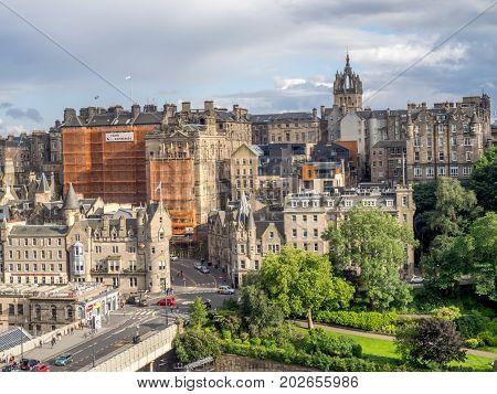 EDINBURGH, SCOTLAND - JULY 27: View of Edinburgh's Old Town on July 27, 2017 in Edinburgh Scotland. The Old Town is a world famous tourist destination and UNESCO heritage site.