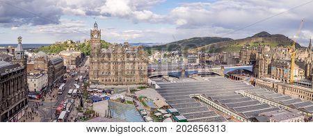 EDINBURGH, SCOTLAND - JULY 27: View of Edinburgh's Balmoral Hotel on July 27, 2017 in Edinburgh Scotland. The Balmoral is a landmark hotel and popular with travellers.