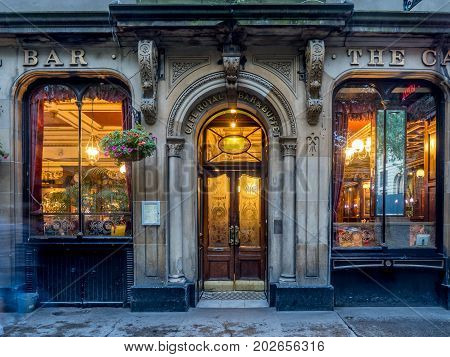EDINBURGH, SCOTLAND - JULY 27: The famous Royal Cafe in Edinburgh's New Town on July 27, 2017 in Edinburgh Scotland. The Royal Cafe serves fine Scottish food in architectural style.