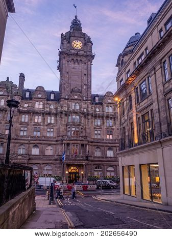 EDINBURGH, SCOTLAND - JULY 27: The landmark Balmoral Hotel on Princes Street on July 27, 2017 in Edinburgh, Scotland. The Balmoral is one of the most prestigious hotels in Edinburgh.