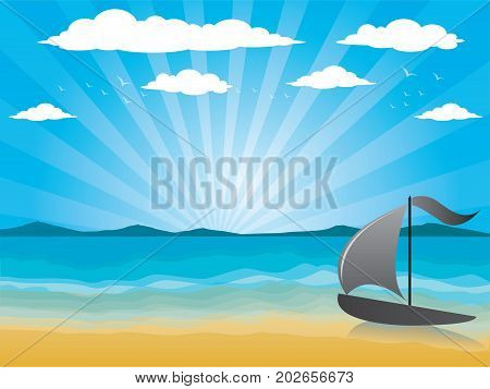 Illustration background with sea and beach , outdoor, sunlight, tree, island, coast, shore, tropical, white, cloud, travel, day, sand, Blue waves sea ocean abstract pattern background colorful, Vector