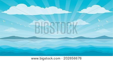 Sea and clouds, bird in the sky, sky, sea, scene, beautiful, background, water, nature, pattern, cloudscape, cartoon, landscape, ocean, vector illustration