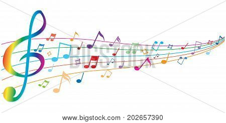 Abstract colorful notes music on a white background, vector illustration