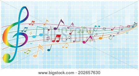 Abstract colorful notes music on a Graphic light blue background, vector illustration