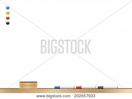 whiteboard wooden frame with eraser whiteboard, color marker and magnetic, vector illustration