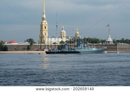 SAINT-PETERSBURG RUSSIA - JULY 20 2017: A combat ship at the rehearsal of the naval parade in St. Petersburg