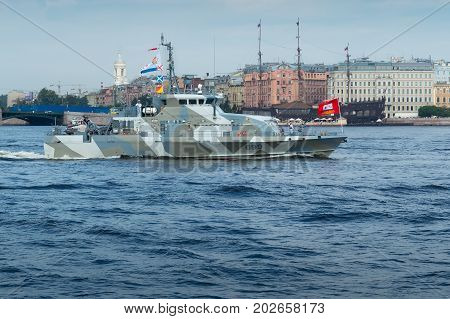 SAINT-PETERSBURG RUSSIA - JULY 30 2017: Counter-terrorist cutter Grachonok. The Naval Parade in St. Petersburg