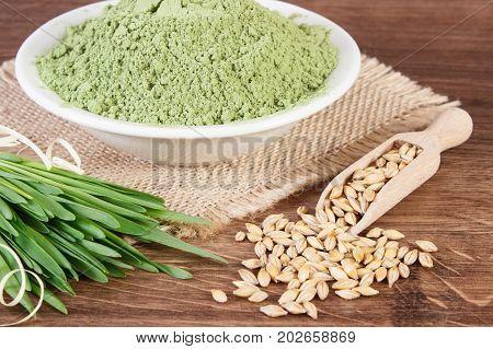 Young Powder Barley, Barley Grass And Grain, Body Detox Concept