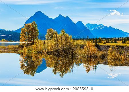 The mirror surface of the fantastic Abraham lake reflects clouds and trees. A sunny autumn day in the Rocky Mountains of Canada. The concept of ecological and active tourism