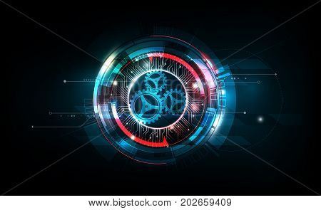 Abstract futuristic electronic circuit technology on dark background, vector illustration