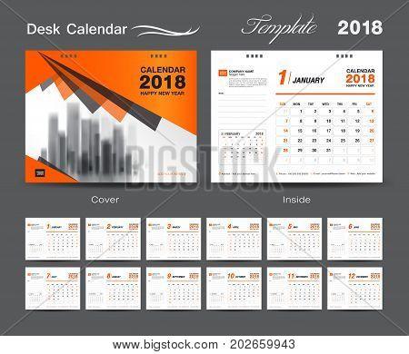 Set Desk Calendar 2018 template design, Orange cover, Set of 12 Months, Week start Sunday