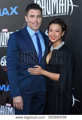 LOS ANGELES - AUG 28:  Anson Mount and Darah Trang arrives for the Marvel's