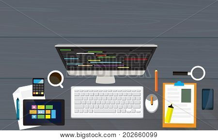 Top View Of Modern Work Desk