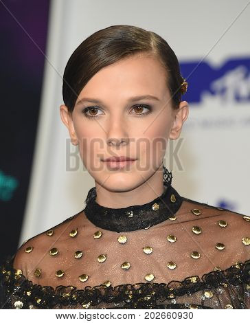 LOS ANGELES - AUG 27:  Millie Bobby Brown arrives for the MTV Video Music Awards 2017 on August 27, 2017 in Inglewood, CA