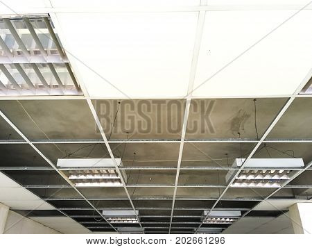 structure of ceiling suspension installation of gypsum plasterboard and light.