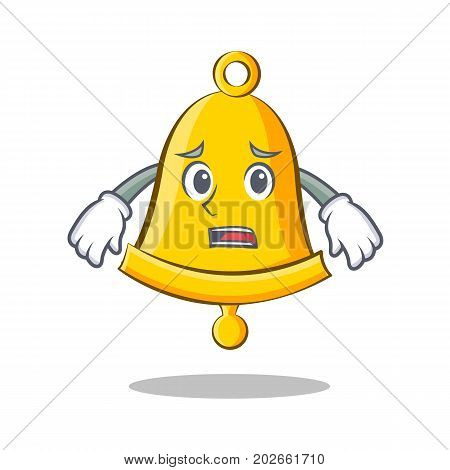 Afraid school bell character cartoon vector illustration