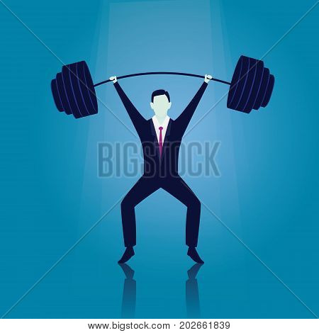 Vector illustration. Business power strength concept. Strong super businessman lifting heavy barbel iron wight above his head