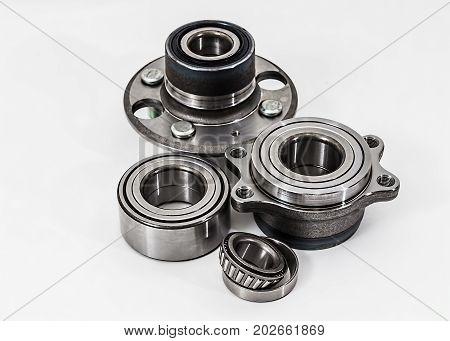Auto Parts. Spare parts for the repair of cars. Bearings on a white background isolated.