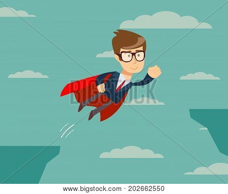 Super Businessman in Red Cape Flying to Success. Business Superhero. man flying across the cliff . Vector illustration