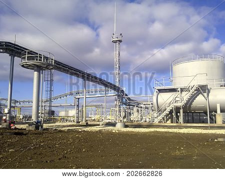 Oil Refinery Under Construction. The Capacity Of Alkalinization Of Gasoline