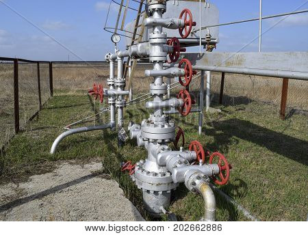 Equipment Of An Oil Well. Shutoff Valves And Service Equipment