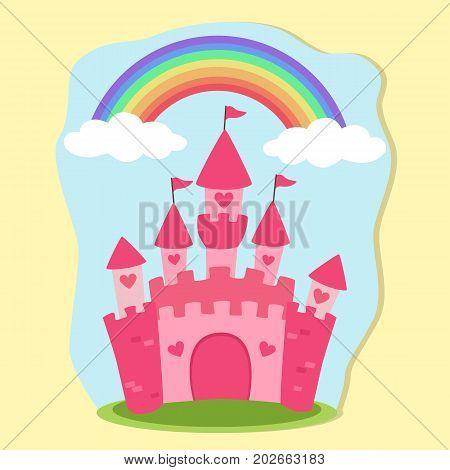 Cute Pink Fairy tale Princess Castle Vector Illustration with Rainbow Sky Background