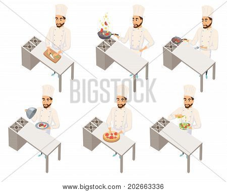 Chef in restaurant cooking set. Cook in uniform preparing food in hotel. Making pizza, steak, wok, cuts salad, holding dish. Professional master