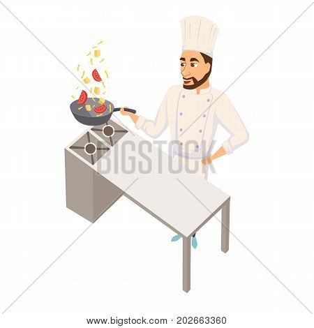Chef wok fry on wok pan. Restaurant cooking. Cook in uniform preparing food in hotel. Professional master