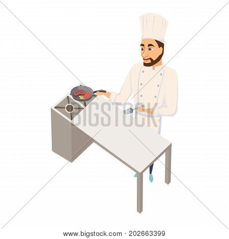 Chef fry meat steak. Restaurant cooking. Cook in uniform preparing food in hotel. Professional master