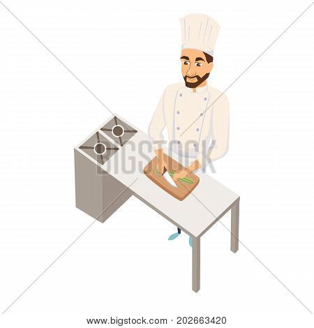 Chef cuts salad. Restaurant cooking. Cook in uniform preparing food in hotel. Professional master