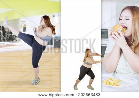 Image of fat woman wearing sportswear while pushing her photo with her bad habit