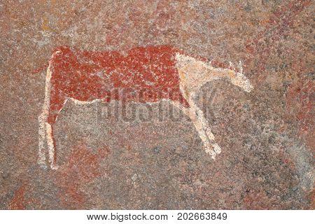 Bushmen (san) rock painting of an antelope, South Africa