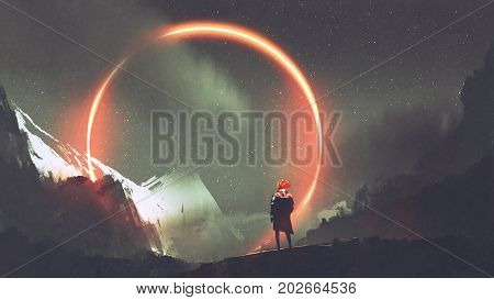 man standing in front of red light circle, digital art style, illustration painting