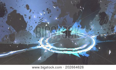magician warrior casting a spell with blue light on the ground, digital art style, illustration painting