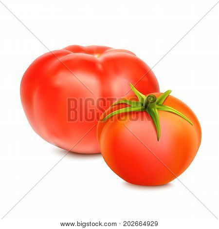 Red whole tomatoes isolated on a white background, close-upwith a green tail. A fresh tomatoes cut out with the clipping path, 3D illustration.