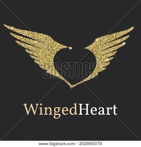 Logo with a Golden glitter, sheen. Symbol with wings and a heart in the negative space. Flying wings, Logo template for branding and identity.