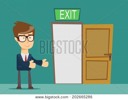 Businessman person and a open door. Stock vector illustration for poster, greeting card, website, ad, business presentation, advertisement design.