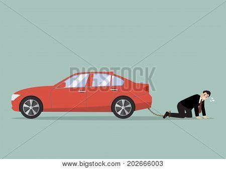 Desperate businessman with car debt burden. business concept