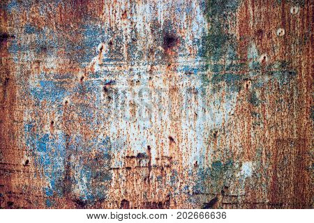 Rusty Texture Of Iron With Multi-colored Paint, Corrosion On Metal Background