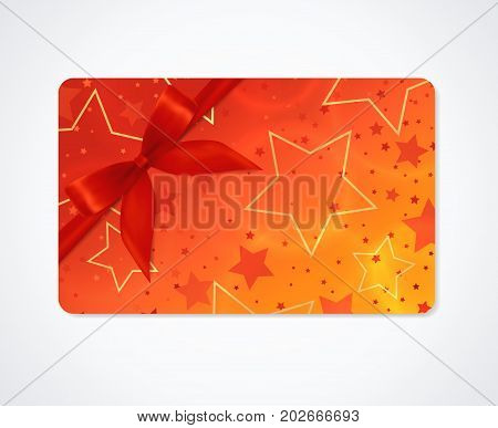 Gift card, Gift coupon, (discount, business card) withsparkling, twinkling stars pattern  (texture). Holiday background design for invitation, ticket. Vector
