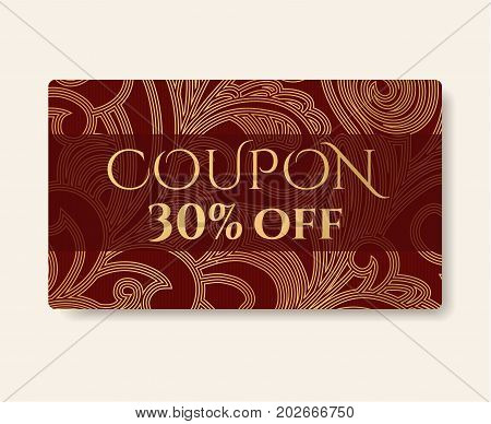 Gift coupon, gift card (discount, gift voucher) with floral (scroll, swirl) gold swirl pattern (tracery). Holiday background design for invitation, ticket. Vector