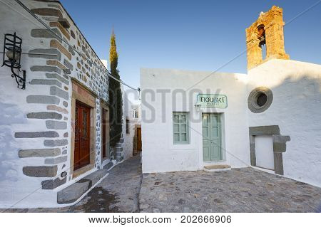 PATMOS, GREECE - DECEMBER 11, 2016: White architecture of Chora village on Patmos island in Greece on December 11, 2016.